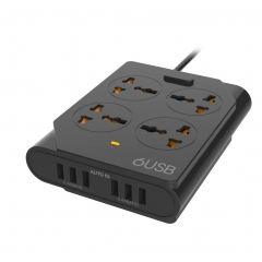 Universal Power Strip 4 Outlets 6 Port USB Socket Surge Protector 2500W 1.5M Extension Cord